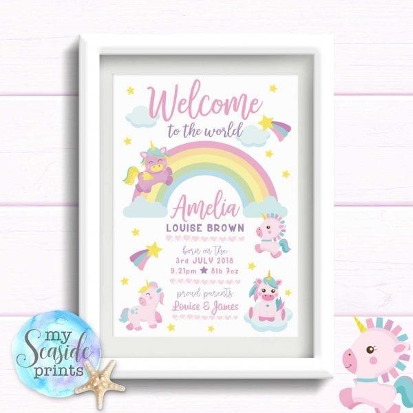 Personalised Girls Nursery Print or New Baby Gift - Baby Unicorns and Rainbows