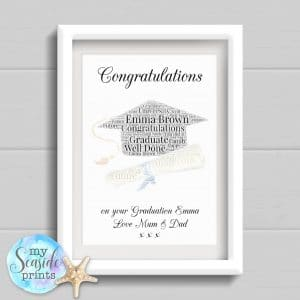 word art print personalised graduation print