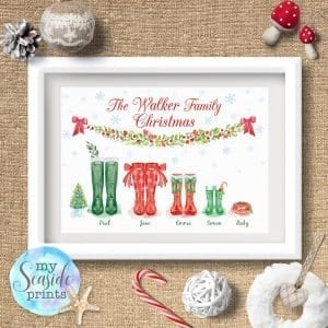Christmas themed wellington boot family print