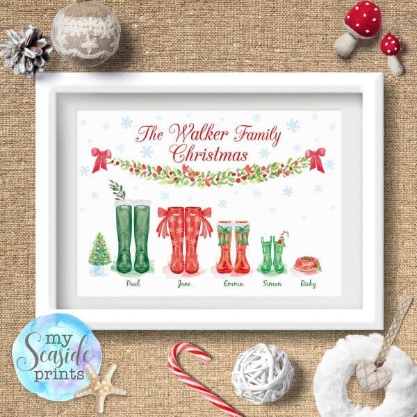Christmas themed wellington boot family print