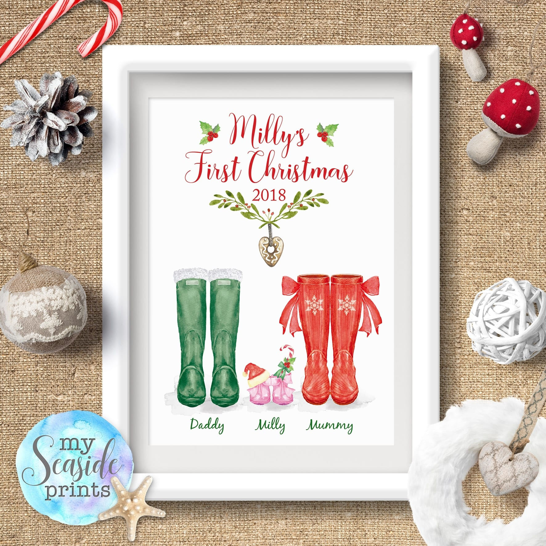 Baby\'s First Christmas wellington boot family print - My Seaside Prints