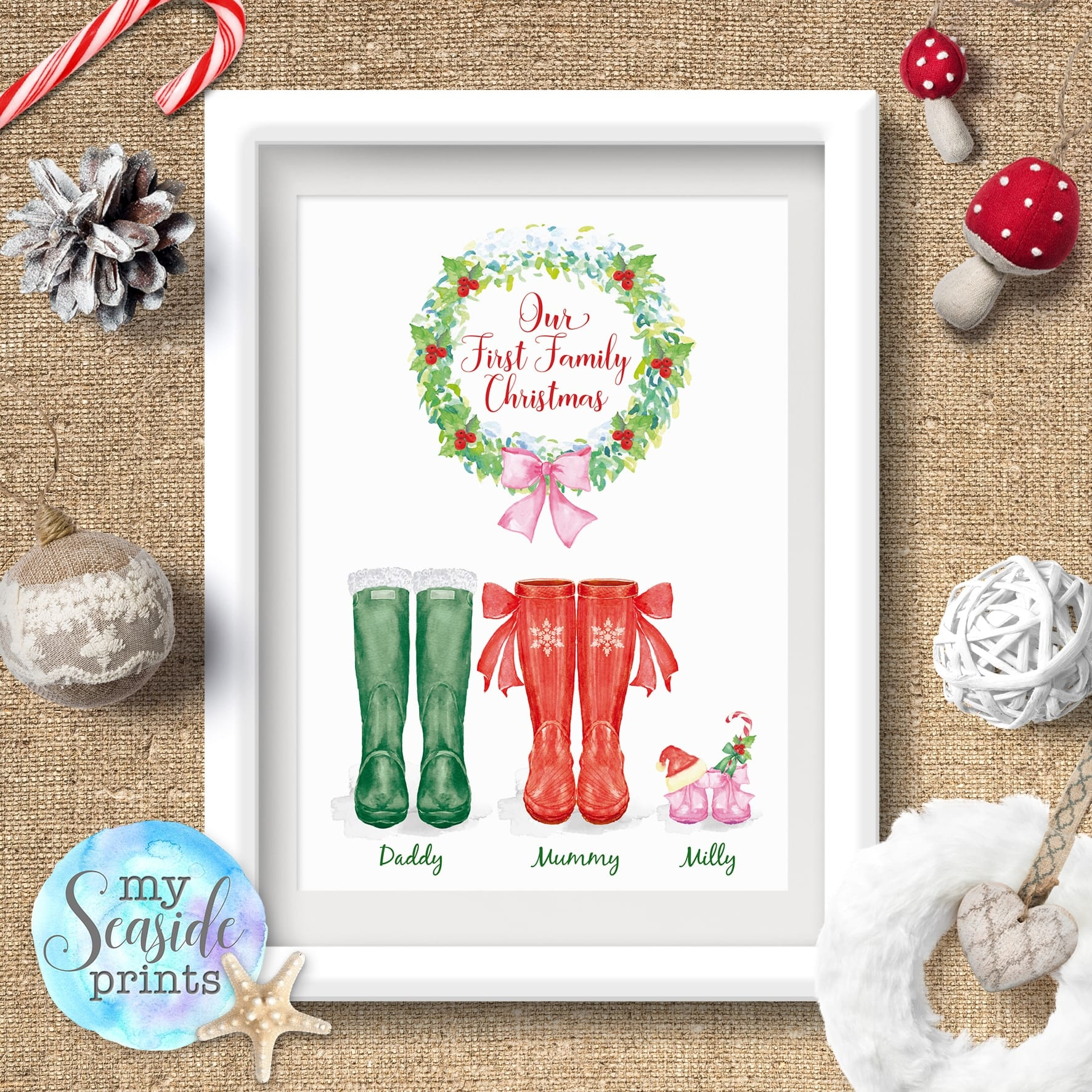 Christmas Images To Print.Our First Family Christmas Wellington Boot Print