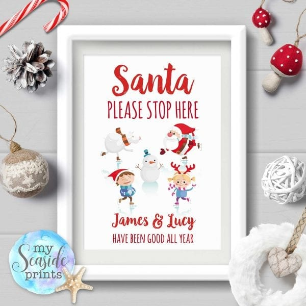 Personalised Santa Please Stop Here Sign with Santa and illustrations of the children