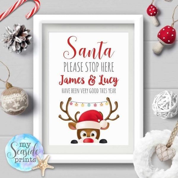 Personalised Santa Please Stop Here Sign with Reindeer