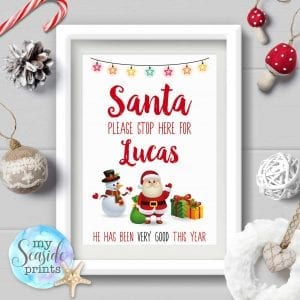 Personalised Santa Please Stop Here Sign for boy or girl