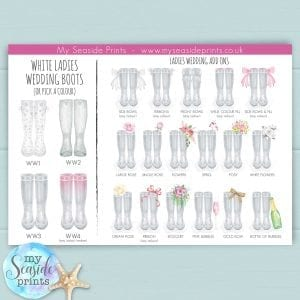 wedding wellington boot options for personalised prints