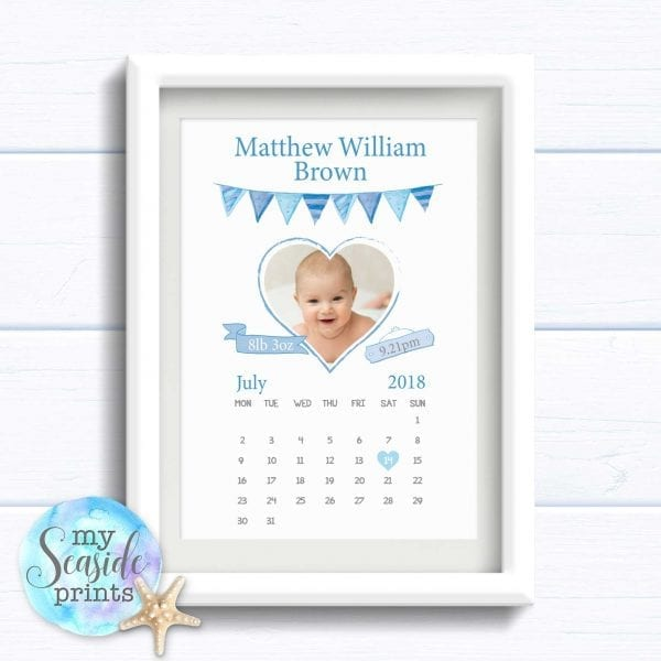 Personalised Boy's Nursery Art Print or New Baby Boy Gift - Hello World calendar with Photo