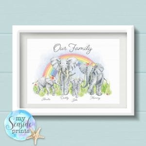 Elephant Family Personalised Print. Bespoke Family Wall Art. Animal Family Picture with Elephants, rainbow, surname and names. Housewarming gift