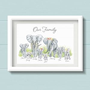 Elephant Family Personalised Print. Bespoke Family Wall Art. Animal Family Picture with Elephants, surname and names. Housewarming gift
