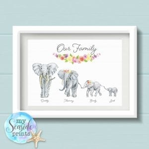 Personalised Elephant Family Art Print with flower banner