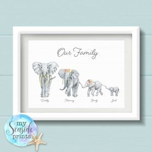 Personalised Elephant Family Wall Art Print