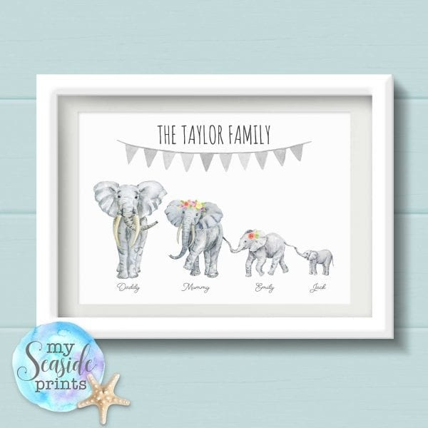 Personalised Elephant Family Print with Bunting wall art