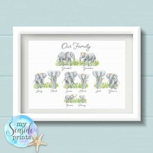 Personalised Elephant Family Tree Print