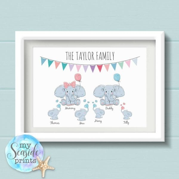 Personalised Cartoon Elephant Family Print with Surname and Bunting