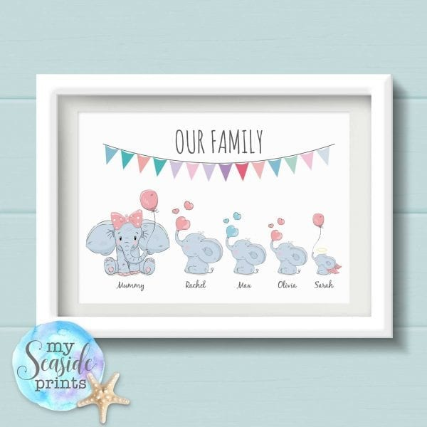Personalised Cartoon Elephant Family Print - Our Family