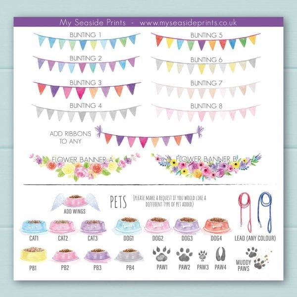 bunting, flower bunting and pet bowl choices for family welly boot prints, cat dog, goat, guinea pig, hamster, horse, leads, muddy paws