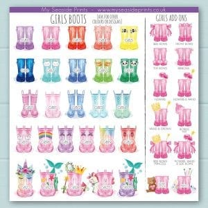 girls welly boot options for family welly boot prints. Add ons include mermaid, unicorn, princess, rainbow, butterfly, painting