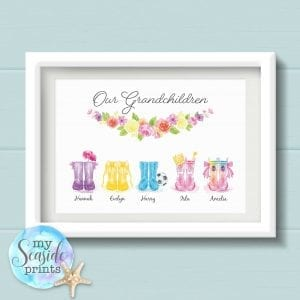 Personalised Grandchildren Welly Boot Print - Gift for Grandparents
