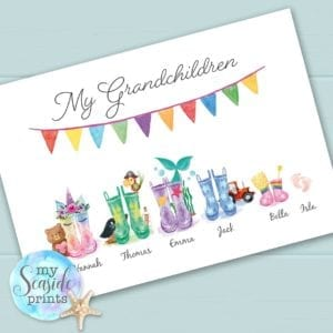 welly boot family print for grandparents from grandchildren