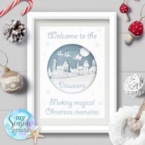 Personalised Family Christmas print - Christmas village scene