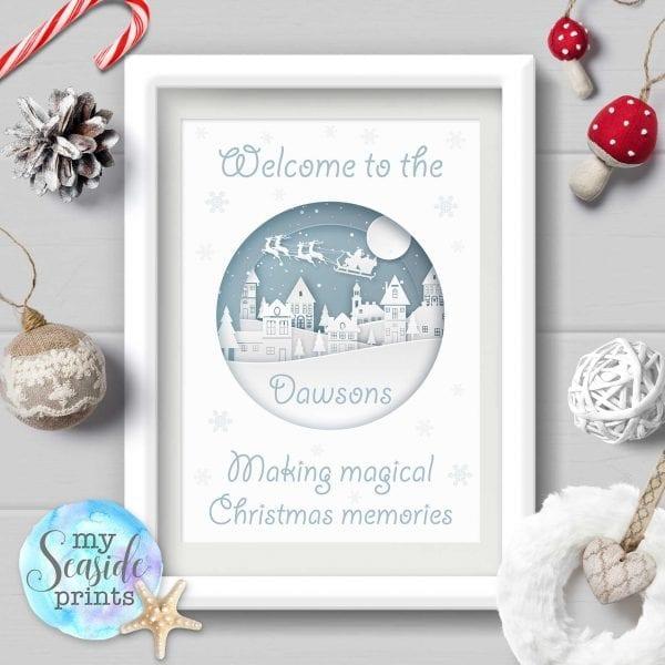 Personalised Family Christmas print - Christmas village scene