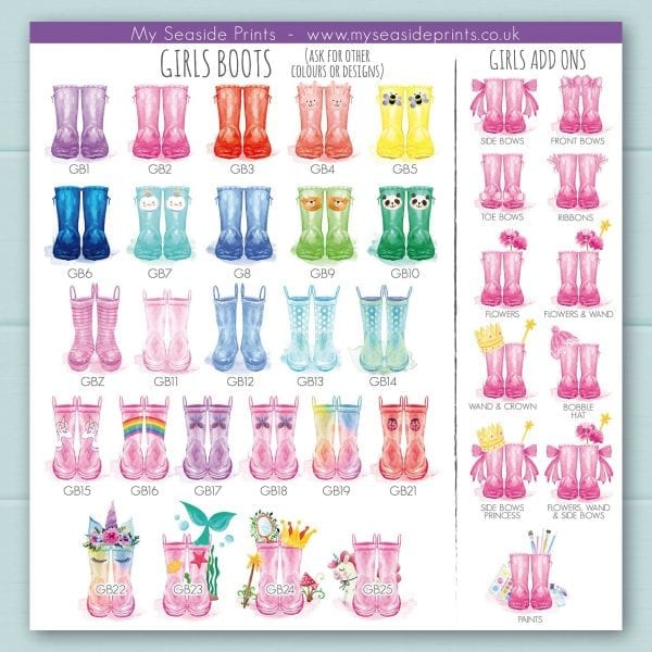 girls welly boot options for family welly boot prints