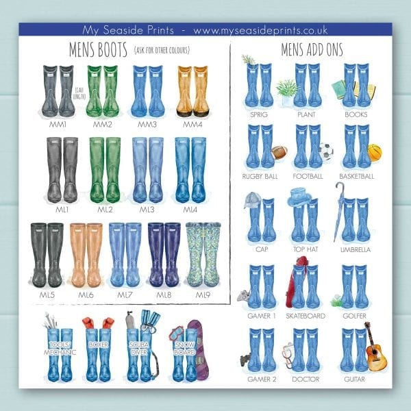 mens welly boot options for family welly boot prints