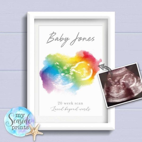 Rainbow baby scan print
