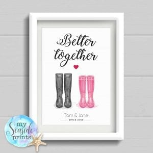 Better together welly boot personalised print