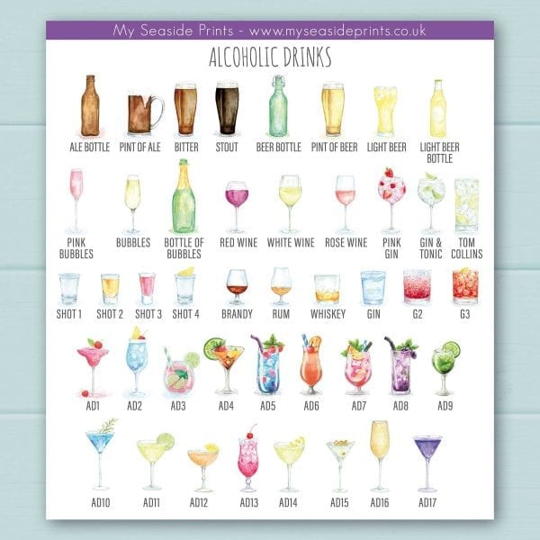 Alcoholic drinks choices include pink gin, gin and tonic, stout, ale, beer, bitter, prosecco, champagne, red wine, white wine, rose wine, cocktails, shots, tequila, brandy, rum, whiskey and gin.