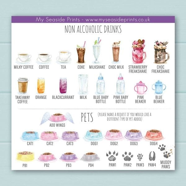 Non-alcoholic options include; coffee, tea, coke, milkshakes, freakshakes, chocolate milkshake, orange juice, blackcurrant juice, milk, baby bottle of milk, and toddler beakers. Pet choices for dogs and cat bowls