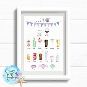 Personalised family drinks print for all the family