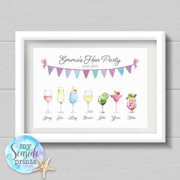 Personalised Hen Party Drinks Print with Bride and Bridesmaids