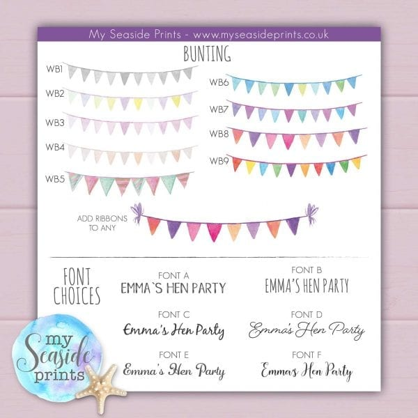 Personalised Hen Party Drinks Print with Bride and Bridesmaids bunting choices