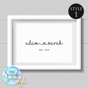 personalised name print style 1