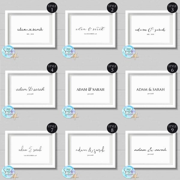 personalised name print with date