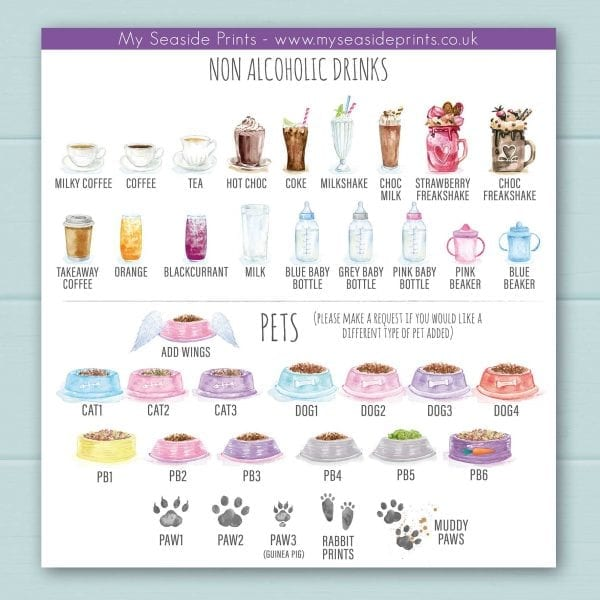 Non-alcoholic options include; coffee, tea, coke, hot chocolate, milkshakes, freakshakes, chocolate milkshake, orange juice, blackcurrant juice, milk, baby bottle of milk, and toddler beakers. Pet choices for dogs and cat bowls