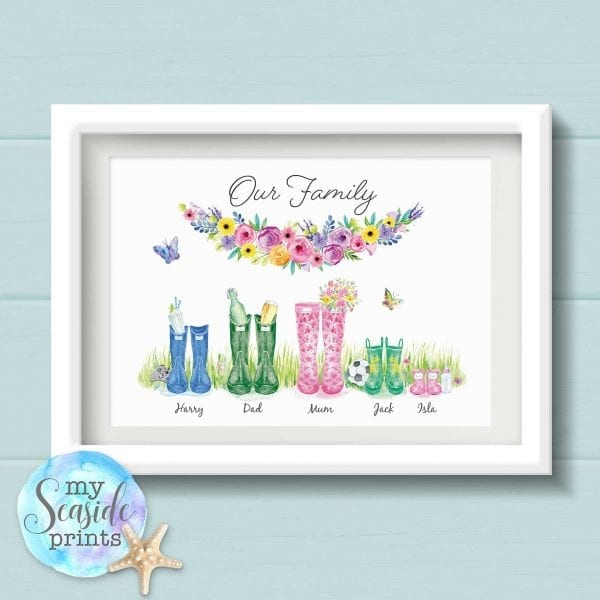 Personalised Family Print with Welly Boots, flower and grass