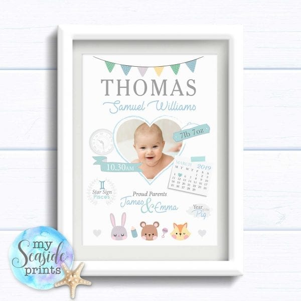 Personalised new baby gift. Personalised Print with Birth Details, photo, clock and calendar