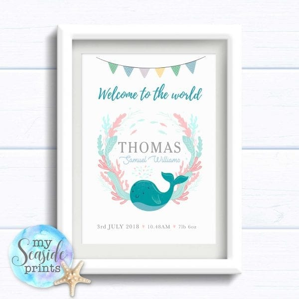 Personalised Gift for Baby Boy - Under the Sea Whale