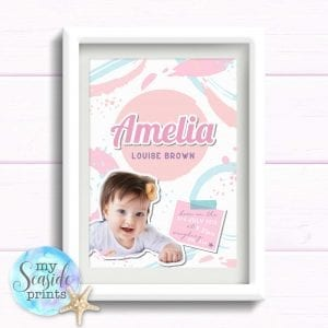 New Baby Girl Gift. Personalised Print with birth stats and photo in Pastel Colours