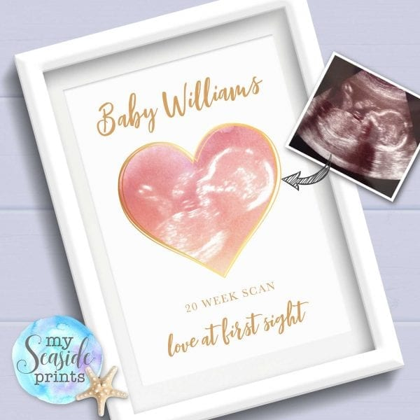 Personalised Baby Scan Heart Print pink and gold