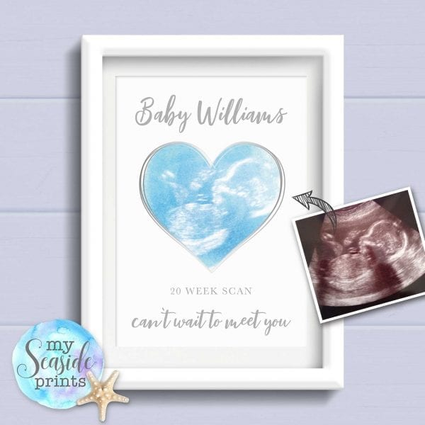 Personalised Baby Scan Heart Print