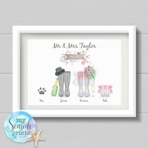 Personalised Wedding Gift - Wellington Boot Print