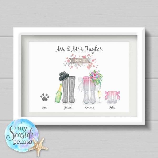 Personalised Wedding Gift - Wellington Boot Print