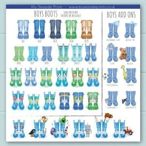 boys welly boot options for family welly boot prints. Add ons inlucde, cap, football, rocket, aliens, tractor, lion, stars, monkey, dinosaur, cow, pirate, trains, turtle, rainbow, zebra