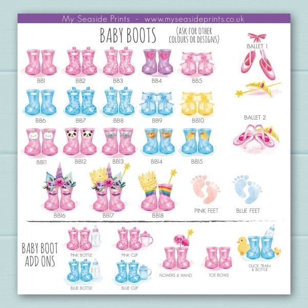 baby welly boots booties and ballet shoes options for welly boot family prints, cute duck, panda, rabbit, bear, unicorn, princess, baby feet, rainbow and penguin designs