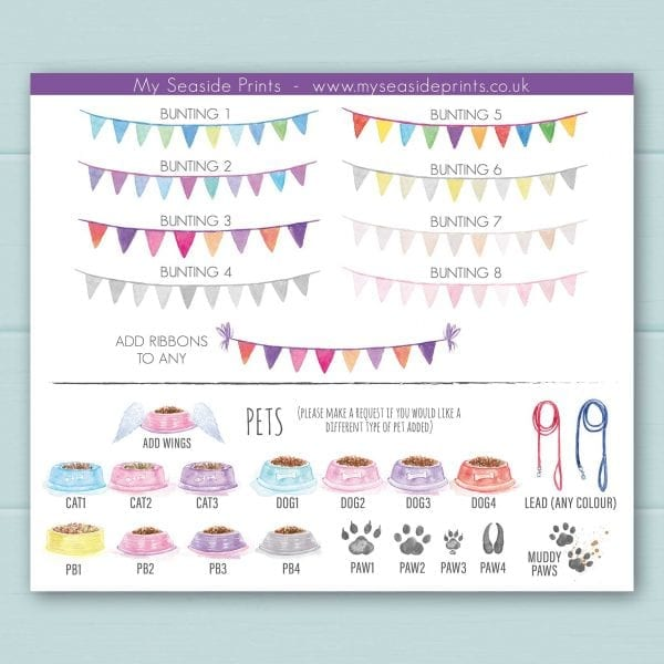 bunting and pet bowl choices for family welly boot prints, cat dog, goat, guinea pig, hamster, horse, leads, muddy paws