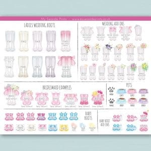ladies and bridesmaids wedding wellington boot options for welly boot personalised prints