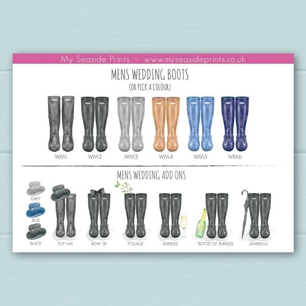 mens wedding wellington boot options for welly boot personalised prints